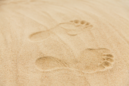 footprints in sand on summer beach Stock Photo - 116244430