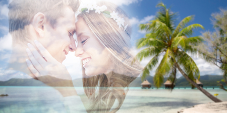 summer holidays, love and travel concept - happy smiling young hippie couple fading over tropical beach background in french polynesia with double exposure effect Stock Photo
