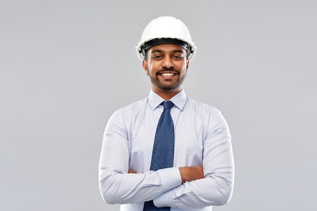 indian architect or businessman in helmet