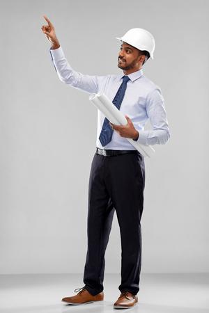 indian architect or businessman with blueprints Reklamní fotografie