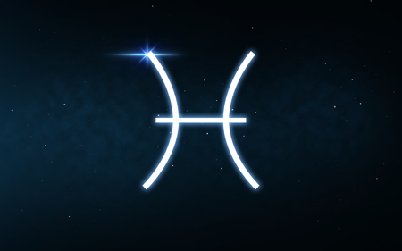 pisces sign of zodiac over night sky and stars