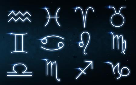 set of zodiac signs over night sky background Archivio Fotografico - 117705455