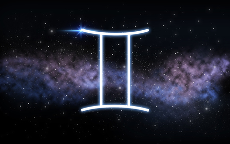 gemini zodiac sign over night sky and galaxy
