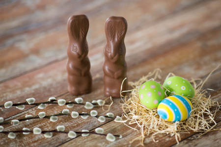 easter eggs, chocolate bunnies and pussy willow