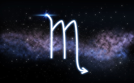 scorpio zodiac sign over night sky and galaxy