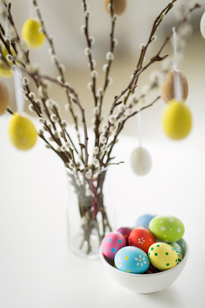close up of pussy willow branches and easter eggs Stock Photo
