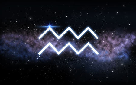 aquarius zodiac sign over night sky and galaxy