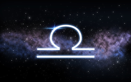 Waage Sternzeichen über Nachthimmel und Galaxie Standard-Bild