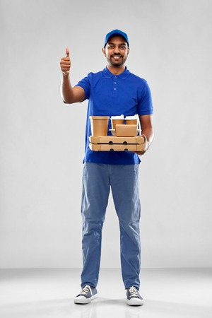 delivery man with food showing thumbs up