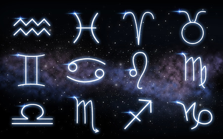 set of zodiac signs over night sky and galaxy