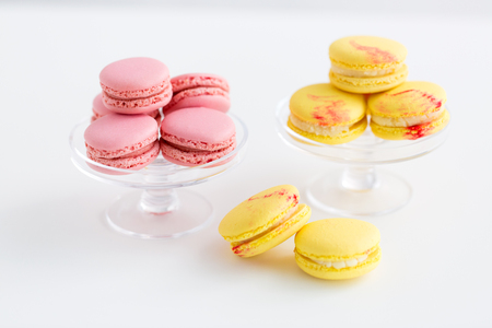 macarons on glass confectionery stand