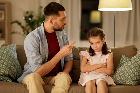 upset or feeling guilty girl and father at home Zdjęcie Seryjne - 119566335