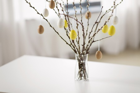 pussy willow branches decorated by easter eggs Stock fotó