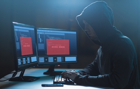 hacker with access denied messages on computer