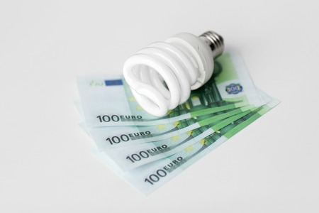 close up of energy saving lightbulb and euro money