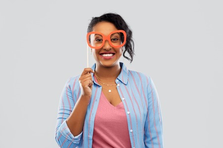 Happy African American woman with big glasses