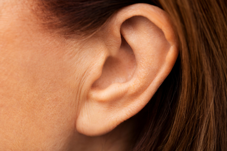 close up of senior woman ear