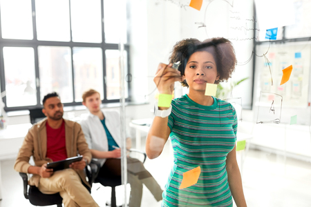 Business, startup, planning and people concept - African American woman drawing scheme on glass board for creative team at presentation in office Imagens