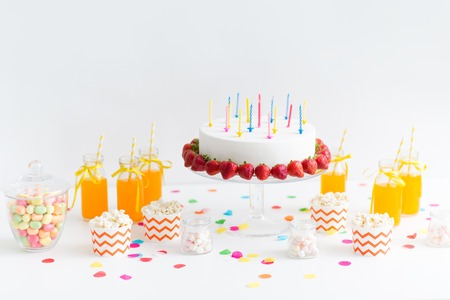 birthday cake, juice, popcorn and marshmallow Stock Photo