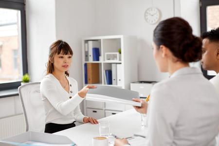 Employee having job interview with recruiters Stock Photo - 121996665