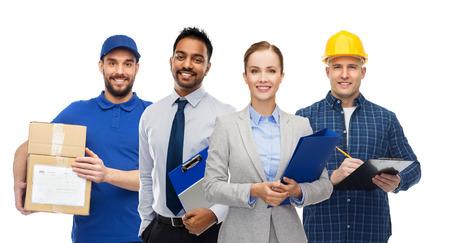 groep kantoormensen en handarbeiders Stockfoto