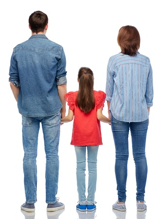 family and people concept - mother, father and little daughter holding hands over white background from back