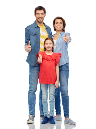 family and people concept - happy smiling mother, father and little daughter showing thumbs up over white background