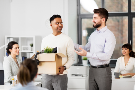new male employee meeting colleagues at office