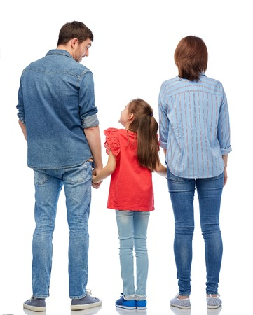 family and people concept - mother, father and little daughter holding hands and talking over white background from back Imagens