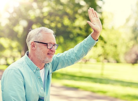 old age, gesture and people concept - happy senior man in glasses waving hand at summer park