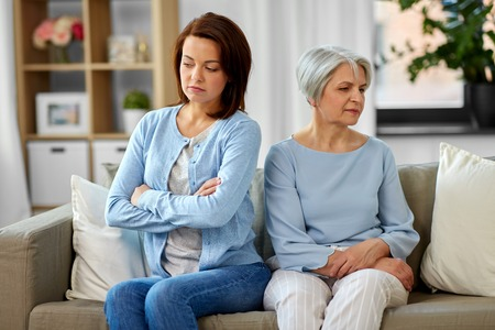 disagreement between senior mother adult daughter