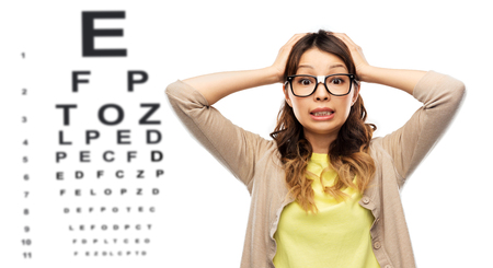 stressed woman in glasses over eye test chart Stock fotó