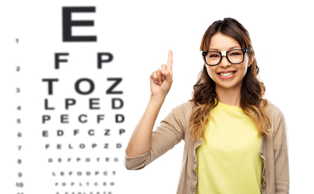 woman in glasses with finger up over eye chart