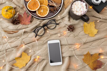 technology and season concept - smartphone, autumn leaves, hot chocolate, gingerbread cookies and glasses with garland lights on warm knitted blanket