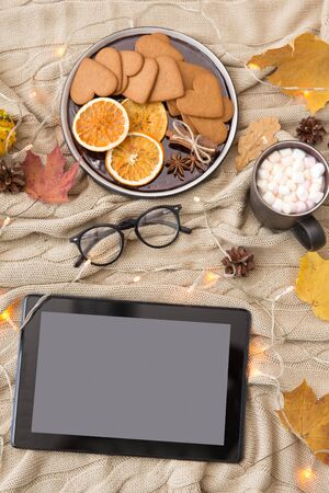 technology and season concept - tablet computer, autumn leaves, hot chocolate, gingerbread cookies and glasses with garland lights on warm knitted blanket Banco de Imagens