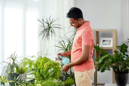 people, nature and plants care concept - smiling indian man spraying houseplant by water sprayer at home