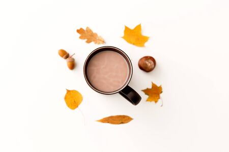 hot chocolate, autumn leaves, acorns and chestnut Imagens