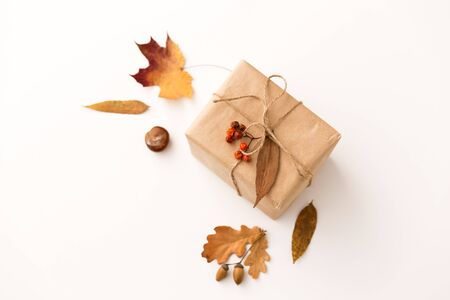 gift box, autumn leaves, acorns and rowanberry
