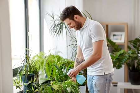 People, nature and plants care concept - man spraying houseplants by water sprayer at home Stock fotó
