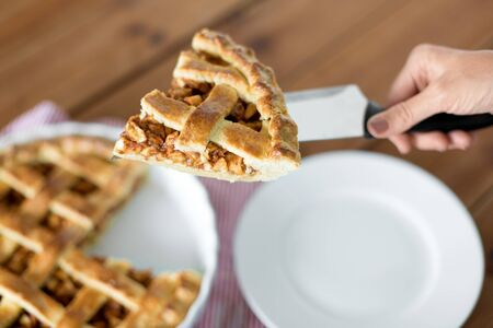 Close up of hand with piece of apple pie on knife