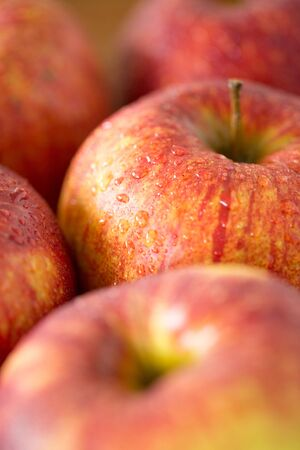 Close up of ripe red apples