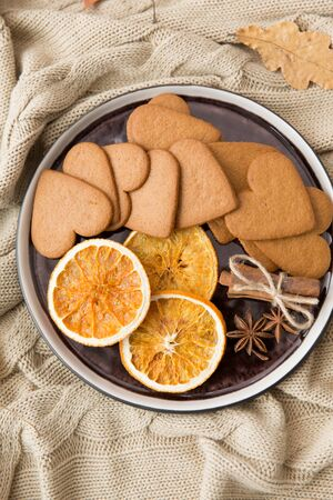 Gingerbread with dried oranges, cinnamon and anise