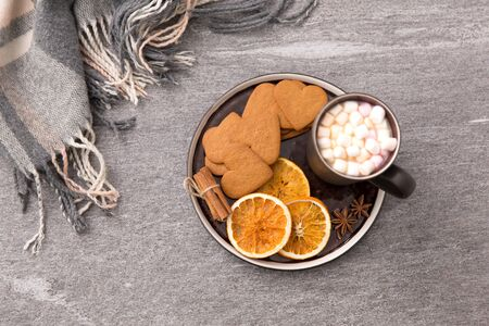 Hot chocolate with dried orange, cookies and anise Stock Photo