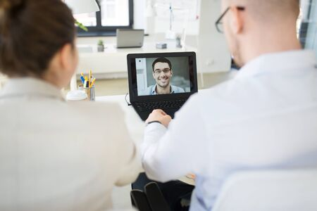 Business team having video conference at office Stock Photo - 126162950