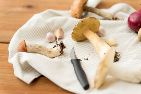 cooking and harvest concept - different edible mushrooms, kitchen knife and towel on wooden table