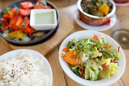 vegetable salad in bowl at indian restaurant