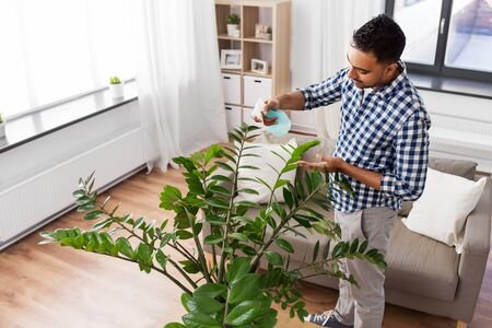 man spraying houseplant with water at home