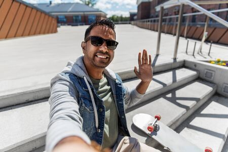 indian man taking selfie on roof top Zdjęcie Seryjne