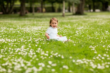 happy little baby girl at park in summer 스톡 콘텐츠