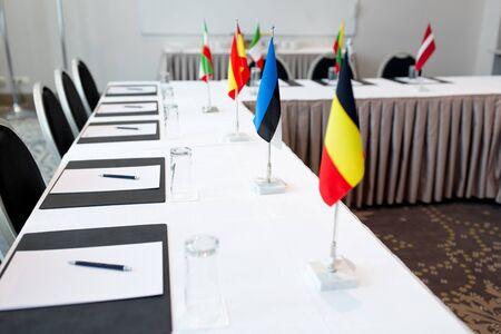 table in boardroom at international conference Standard-Bild - 128318495